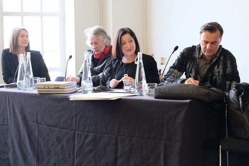 The jury panel from left Peg Rawes, David Gloster and chair RIBA President Jane Duncan and Patrick Schumacher.
