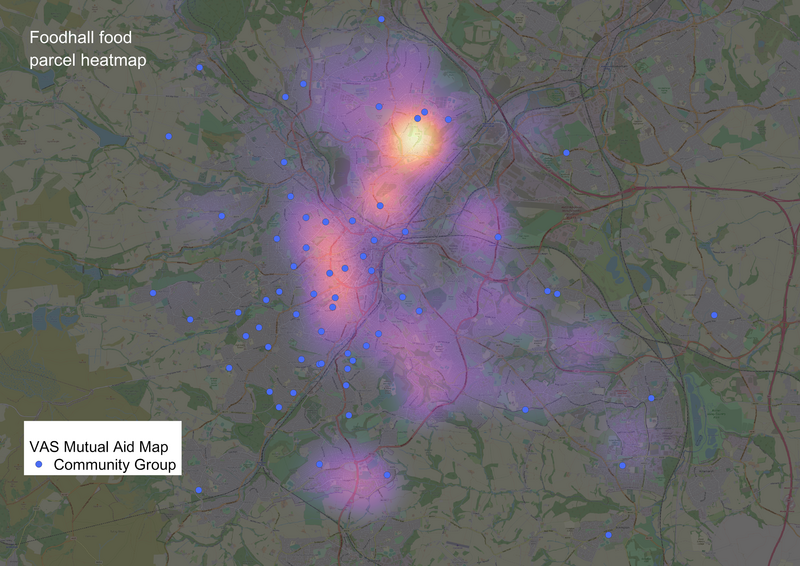Community groups and food need unfortunately don't always match as this map as demonstrated on this map of community groups laid over heat map of food parcel deliveries in Sheffield. Credit: Maps drawn by Jake Sutcliffe from the Foodhall team, with data gathered from Jonny Davey and Ed Crisp. Community group data from the Voluntary Action Sheffield open source maps by Martin Fox.