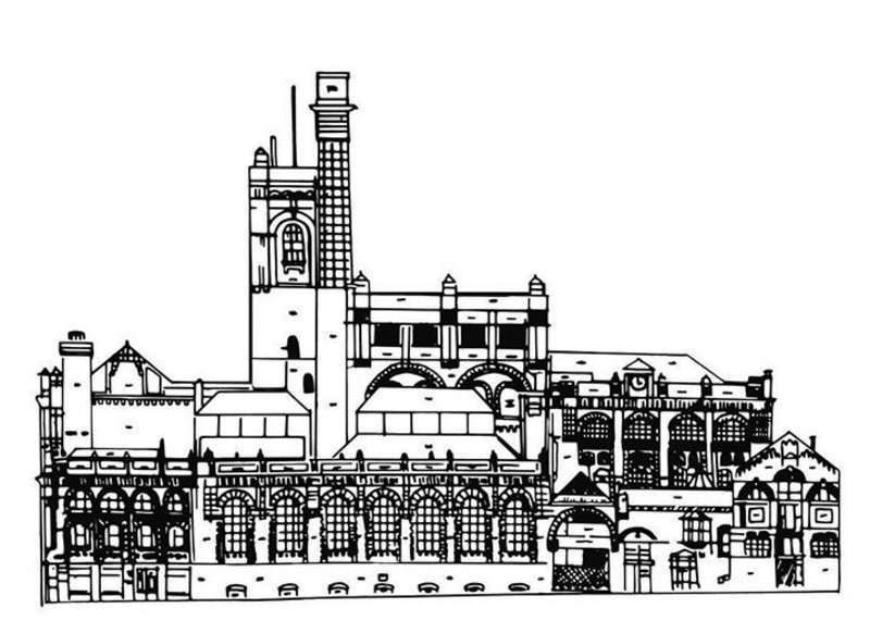 Calder makes the most of staying put and understanding architecture with references from not only Egypt and Mexico but also those like Cains Brewery, in Liverpool, where he teaches (below).
