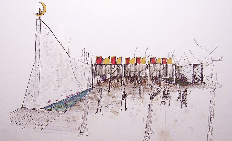 Glenn Murcutt's sketch of Australian Islamic Centre