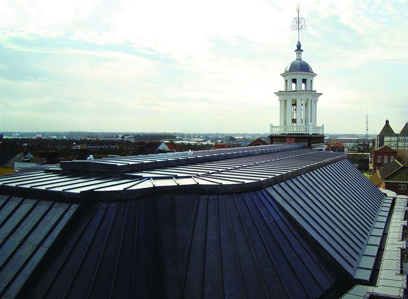 The roof of the old building has been completely renewed with leadwork replacing defective copper.