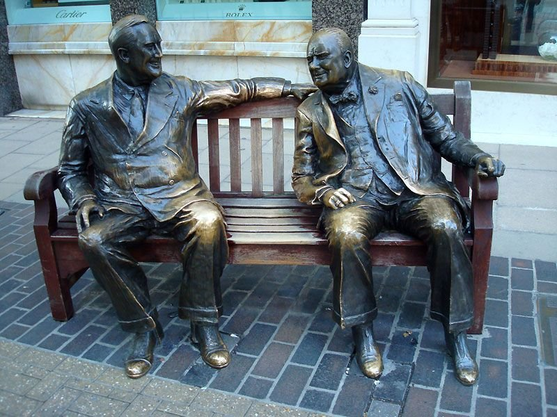 Lawrence Holofcener's Churchill and Roosevelt on a bench