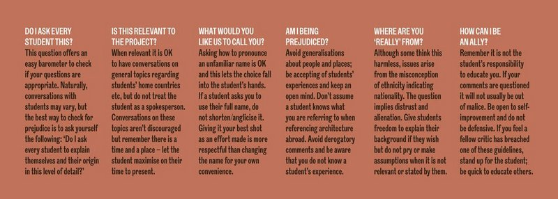The Inclusive Review. Six key questions to bear in mind to conduct an actively anti-racist architecture review.