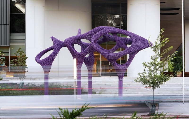 The sculpture in position outside Durham's public library in North Carolina.