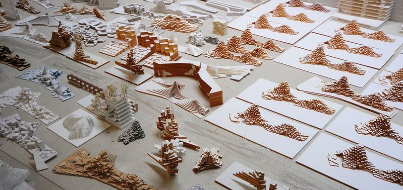 1000 Trees massing models at Heatherwick Studio.