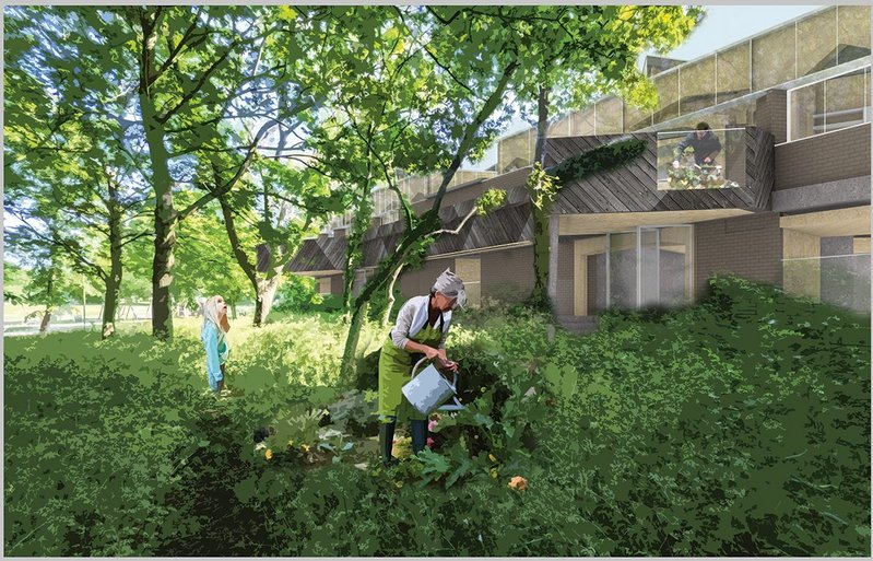 In this new extreme retrofit, the development's community garden is a key component.