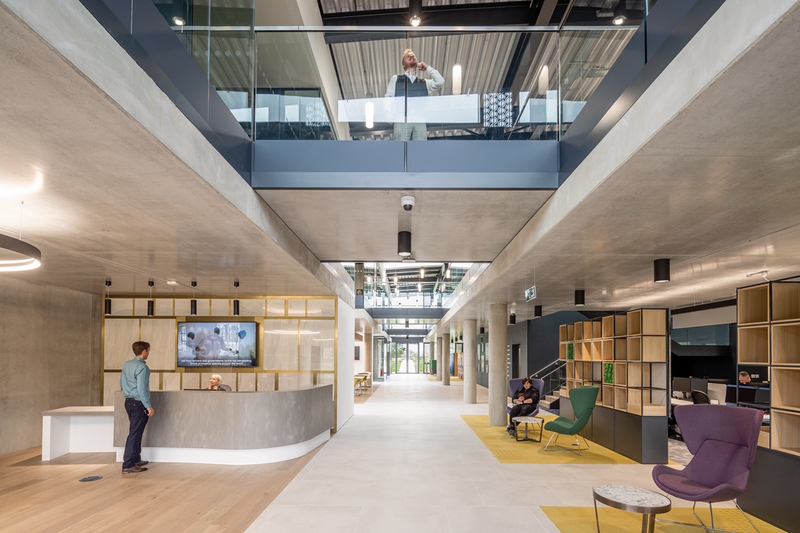 CABI's low occupational density allows collaboration spaces to run alongits internal street. The building is naturally ventilated and offers users greater control of their space.