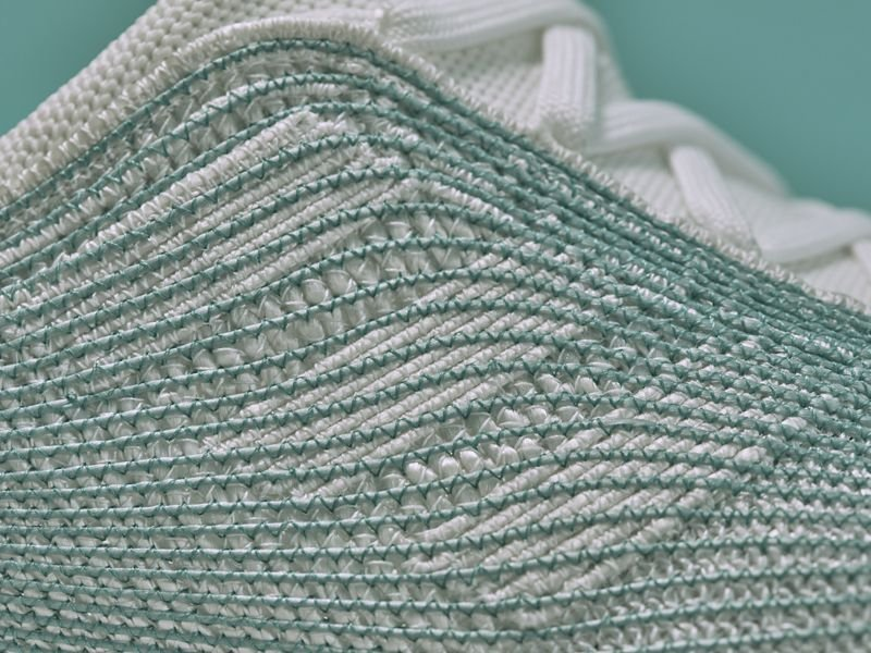 Detail of Adidas x Parley, the green net is clearly visible.