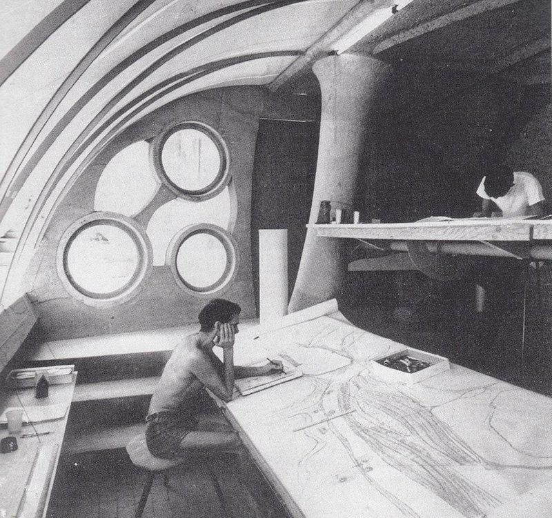 Katrin Jaschke's research examines Paulo Soleri, here in his drawing studio.