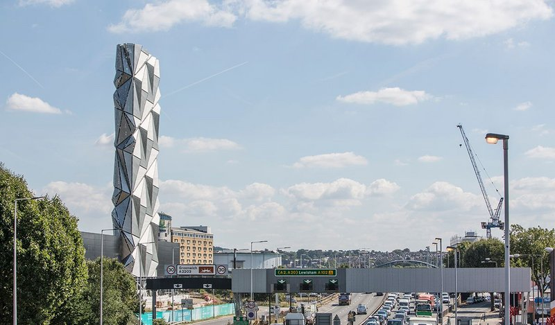 The Optic Cloak, an architectural intervention by artist Conrad Shawcross, forms the chimney of the low carbon Energy Centre on Greenwich Peninsula, designed by CF Møller.