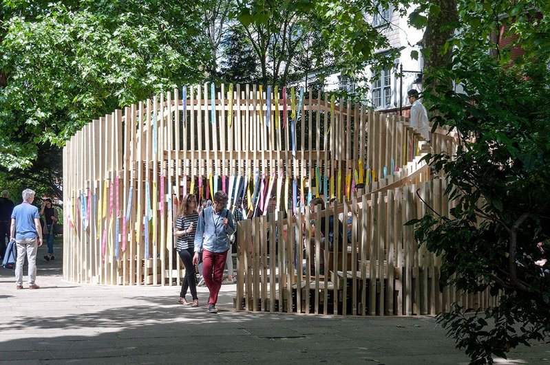 As-built in summer 2017, the ribbon-bedecked pavilion/bridge became a social rendezvous.