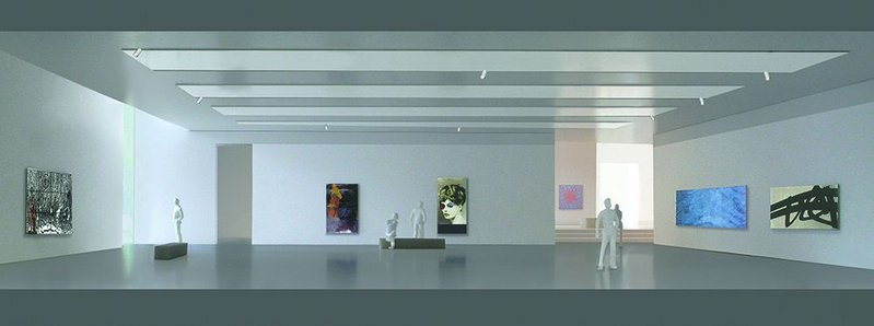 One of the new galleries in the 'Cube' extension, which will house 21st century art.