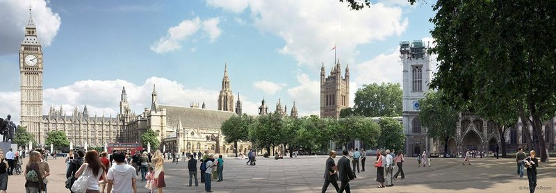 Hawkins\Brown's Parliament Square redesign proposal for Transport for London. Russell Brown proposes retaining the Palace of Westminster as a tourist attraction but siting parliament elsewhere. 'Democracy is about access,' he says.
