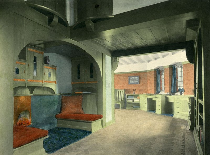 Barry Parker (1867-1947). Coloured photograph: The interior at Hilltop, a house in Caterham, c 1909. Courtesy of the Garden City Collection. From Barry Parker: Architecture for All at the Broadway Gallery in Letchworth.