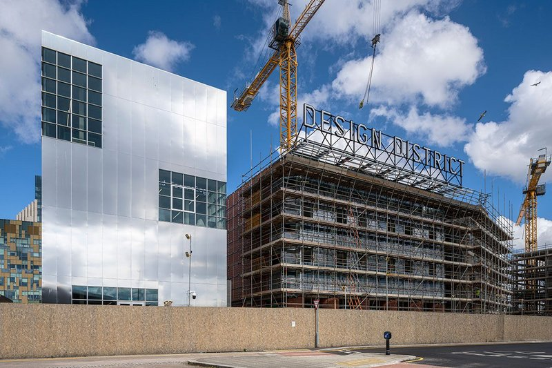 Design District, a new development of 16 buildings for the creative industries by developer Knight Dragon, is taking shape on the Greenwich Peninsula ahead of its launch in September.
