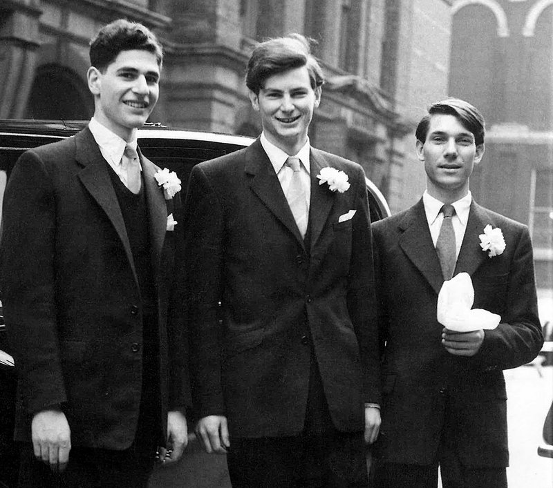 Richard Burton (centre) flanked by Paul Koralek (left) and Peter Ahrends at Burton's wedding in 1956.
