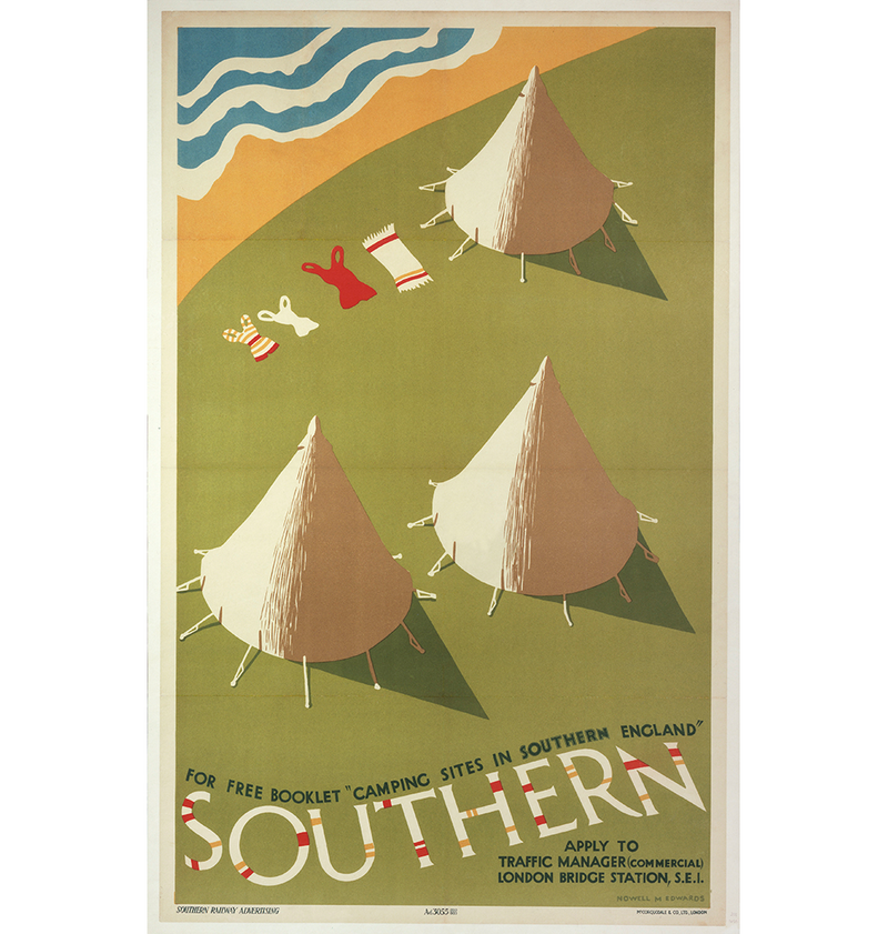 Southern: Camping Sites in Southern England, Southern Railway poster, 1935.