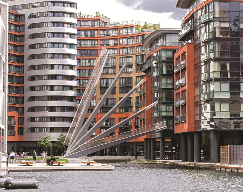 The new Merchant Square bridge  forms a fan with a flourish when raised.
