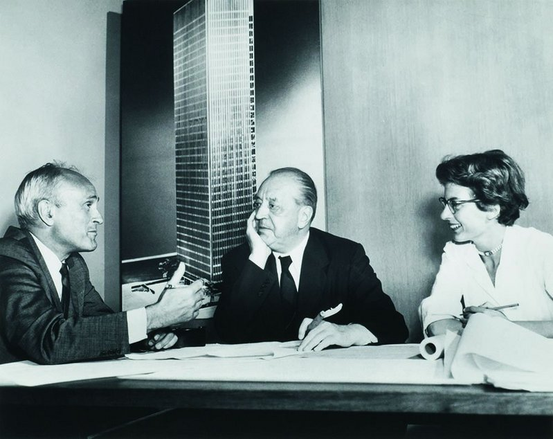 from left: Philip Johnson, Mies van der Rohe and Phyllis Lambert.