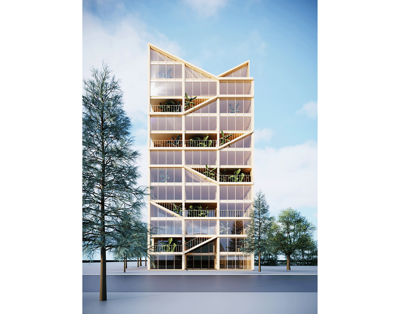 Idea for a new form of high rise timber construction that combines 'village' and city scale spaces