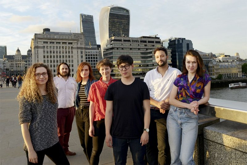 Swarm's creators from the LSA: from left to right Rachel Bow, Stuart Goldsworthy-Trapp, Vanessa Jobb, Milly Salisbury, Timothy Ng, Frazer Haviz, Maeve Dolan.