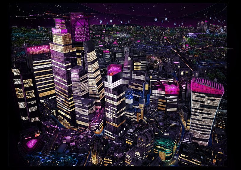 The virtual reality experience imagines a near future nightscape in three areas of London.