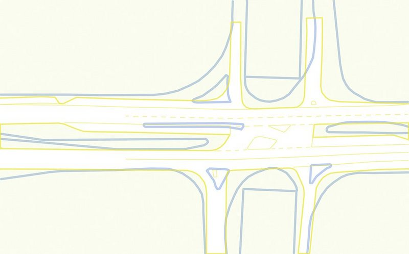 The lines that would have to be redrawn to make it work (blue for existing kerbs, yellow for proposed).
