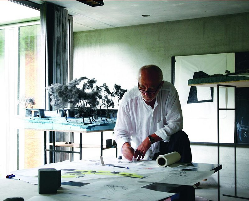 Zumthor at work in his Haldenstein atelier on Living Architecture's 'Secular retreats on Dartmoor'.
