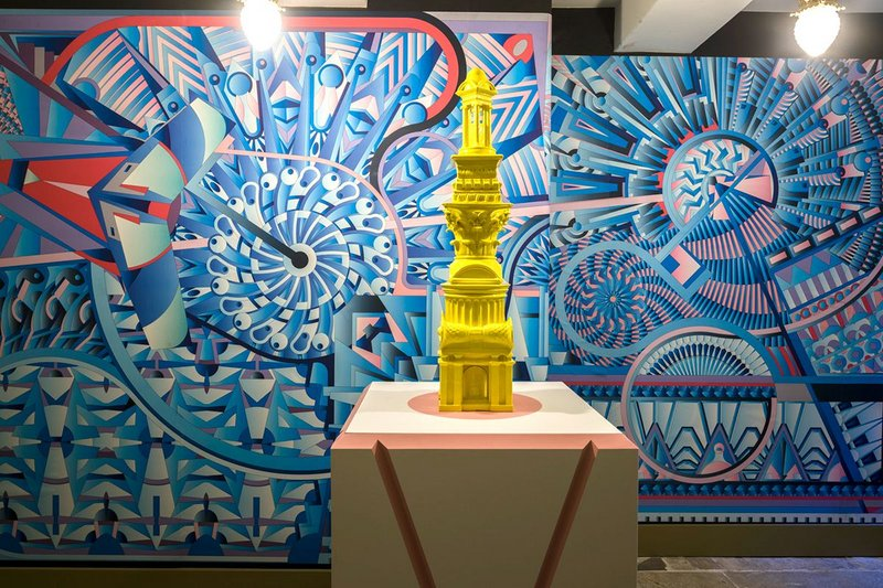 Adam Nathaniel Furman designed two murals to form the backdrop to his 3D-printed Pasteeshio sculpture.