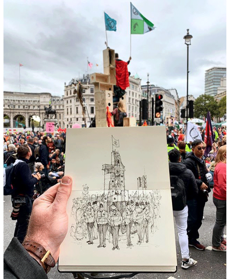 Drawing by Luke Adam Hawker of protest architecture using U-Build, crownfunded and assembled  by participants for the International Rebellion, October 2019.