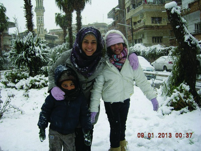 Calm moment in the conflict: Marwa Al-Sabouni with her children at the start of this year.