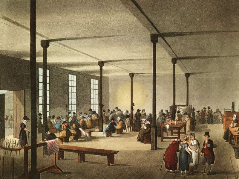 The women's common room at St James's workhouse, Westminster, London as drawn by Augustus Charles Pugin in 1809.