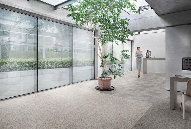 Desso Linon carpet tiles bring the texture and look of linen to work spaces.