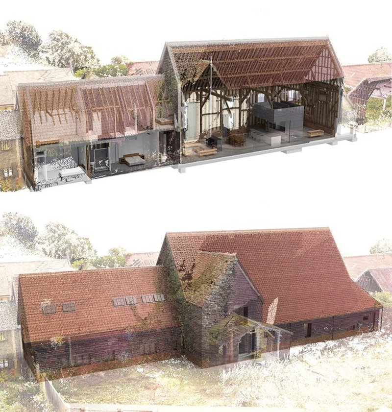 This point cloud survey of the existing building was developed using laser scans (above) is set against proposals.