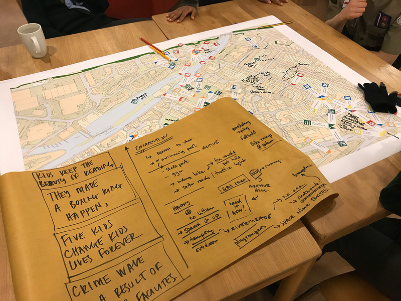 The physical results of a mapmaking workshop with a local Scout troop.