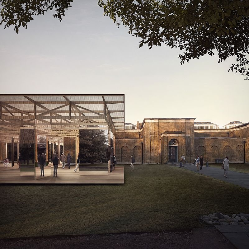 IF_DO's pavilion of timber, mesh and mirrored panels in front of the Soane-designed Dulwich Picture Gallery.
