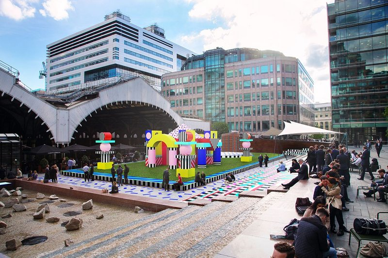 Render of Villa Walala, an interactive play installation designed by Camille Walala for British Land at Broadgate as part of the London Design Festival.