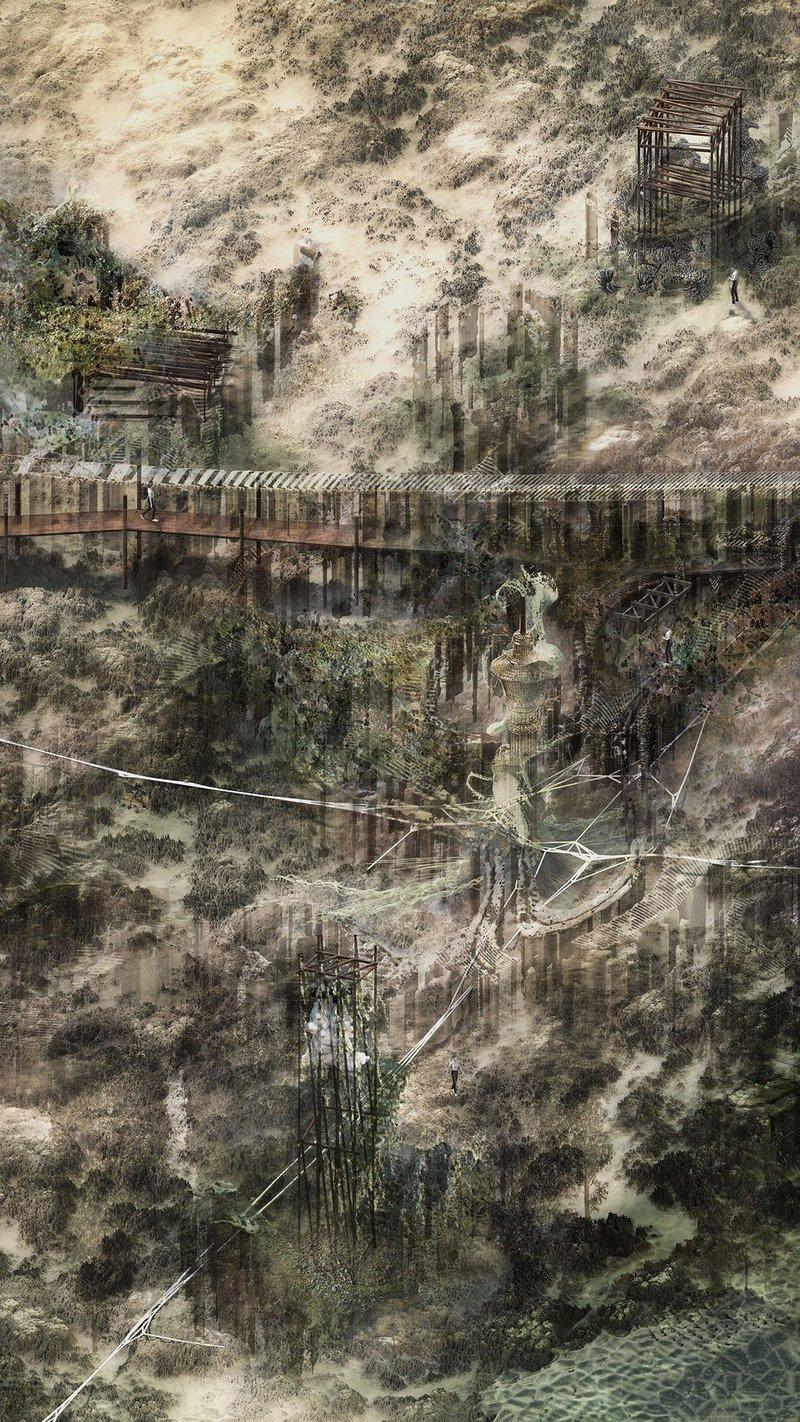 Data-scape. Digital render, 762mm × 1354mm.