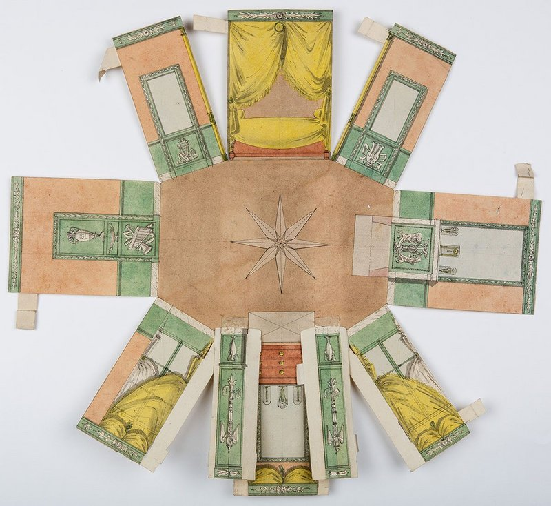 A fold-out paper model of a bedroom/boudoir possibly for Empress Josephine, created by Pierre-François-Léonard Fontaine, c 1804. Courtesy of Drawing Matter.