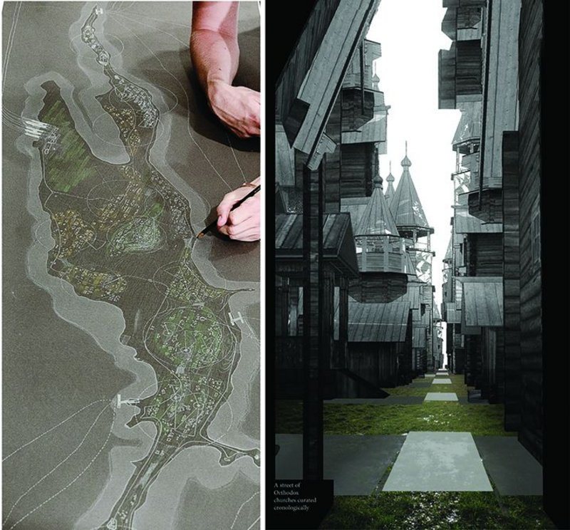 Left: Kihzi Island 100 years on, an exploration to establish a set of rules and an informed strategy of curation. Right: Street of churches, arranged chronologically.