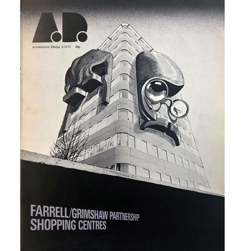 1973 Architectural Design magazine featuring Farrell / Grimshaw Partnership. The cover shows portraits by Adrian George of Terry Farrell and Nicholas Grimshaw on the facade of their project, and home, 125 Park Road in London.