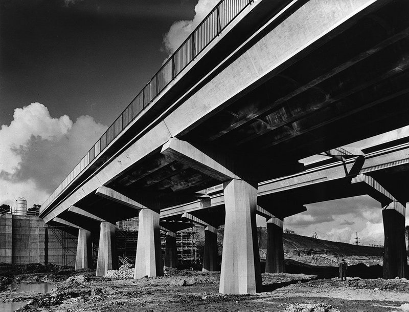 The Corso Francia elevated highway under construction in Rome, 1959.
