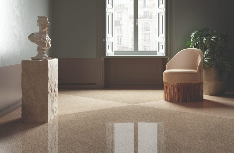 Classic good looks: Fiandre Architectural Surfaces' Il Veneziano porcelain floor surfaces in Seminato Beige and Seminato Miele, Natural and Polished finishes.