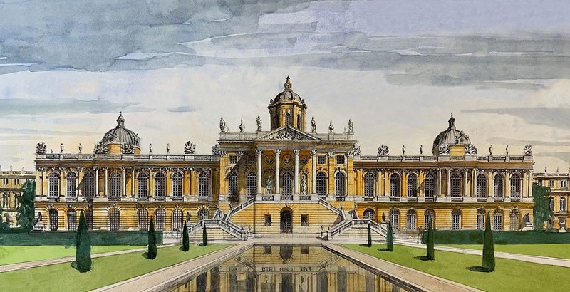 Garden Facade of Versailles with my improvements (watercolour  780mm × 380mm)