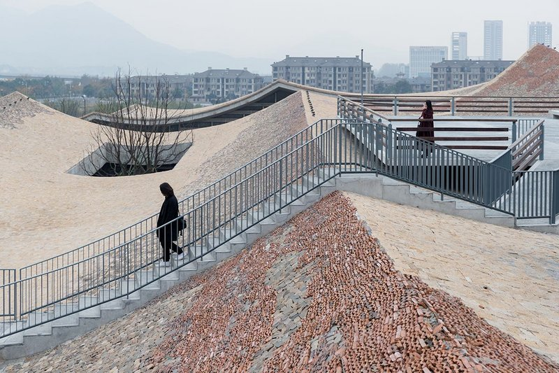 Undulating roofscape at Fuyang Cultural Complex, designed by Wang Shu of Amateur Architecture Studio.