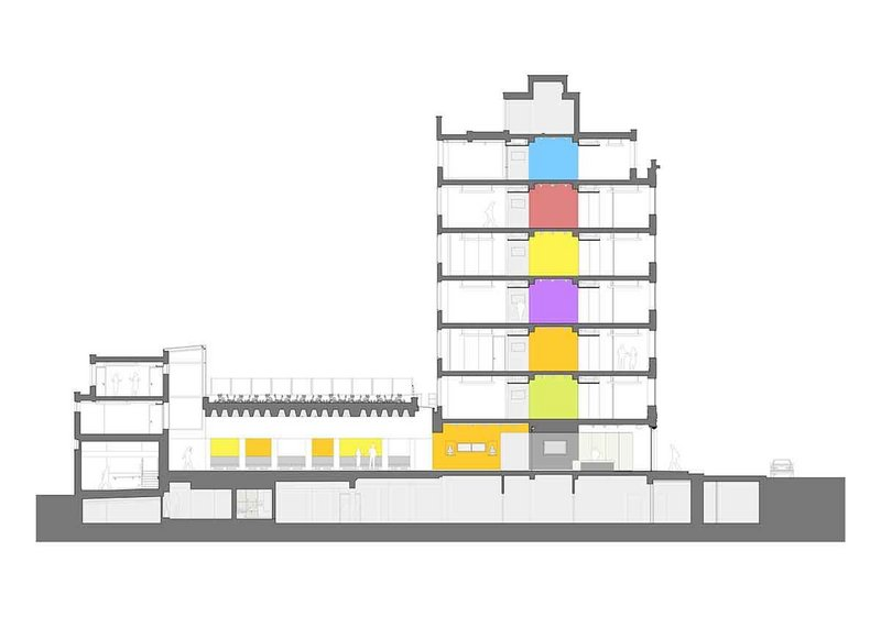 East-west section of the building showing the slot and the relationship between the spreading Forum on the ground floor and the more contained offices on either side.