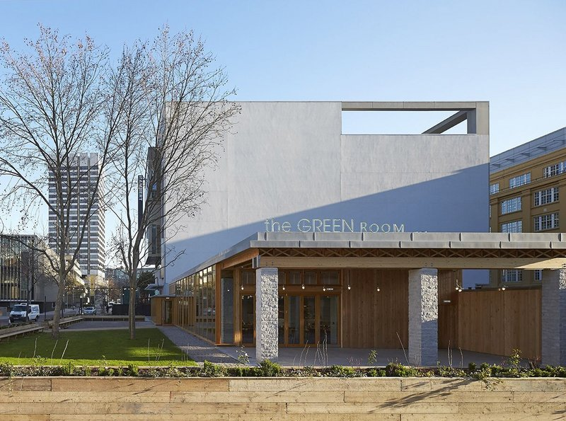 New, temporary, good and very visible, the Green Room is a satellite restaurant for the National Theatre.