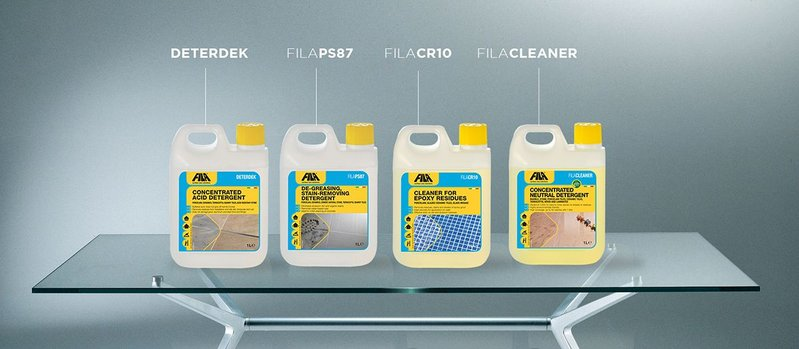 FILA's new recommended care solution for large and extra-large format porcelain and ceramics.