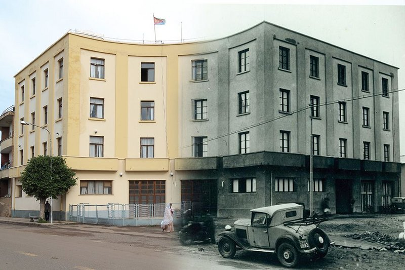 Combination of past and present to convey the life of a building in Asmara over time here at the Ministry of Health (2014), formerly the city's police headquarters (1938)