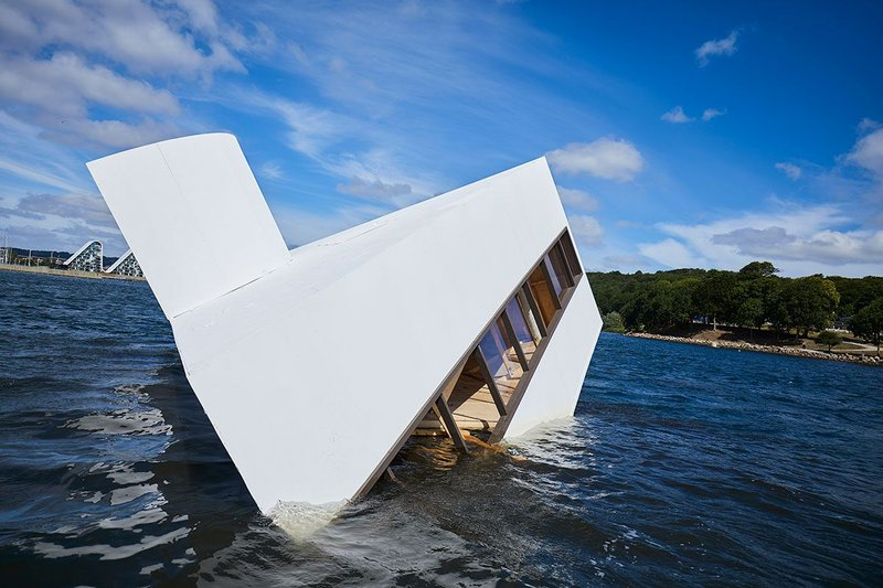 Flooded Modernity, an installation inspired by the Villa Savoye, by Asmund Havsteen-Mikkelsen at Floating Art 2018 in Denmark.